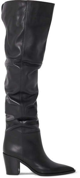 80 Leather Over-the-knee Boots - Black
