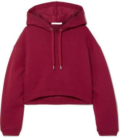 Dence Cropped Cotton-blend Hoodie - Burgundy