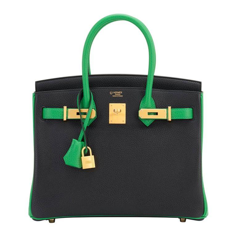 Hermes HSS Bamboo And Black Bi-Color 30cm Birkin Bag SO Gold Hardware Exclusive at 1stdibs