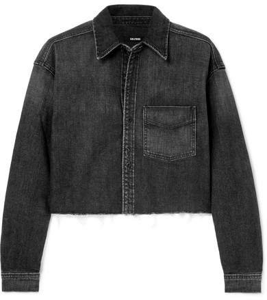 Christy Cropped Denim Shirt - Dark gray