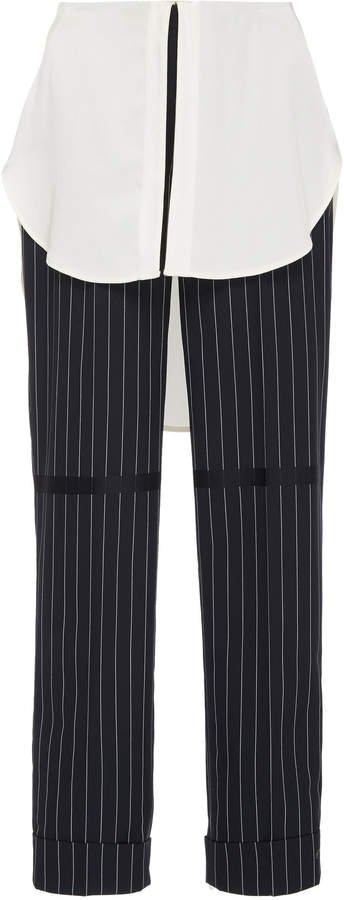 Kooning Striped Crepe Straight-Leg Pants
