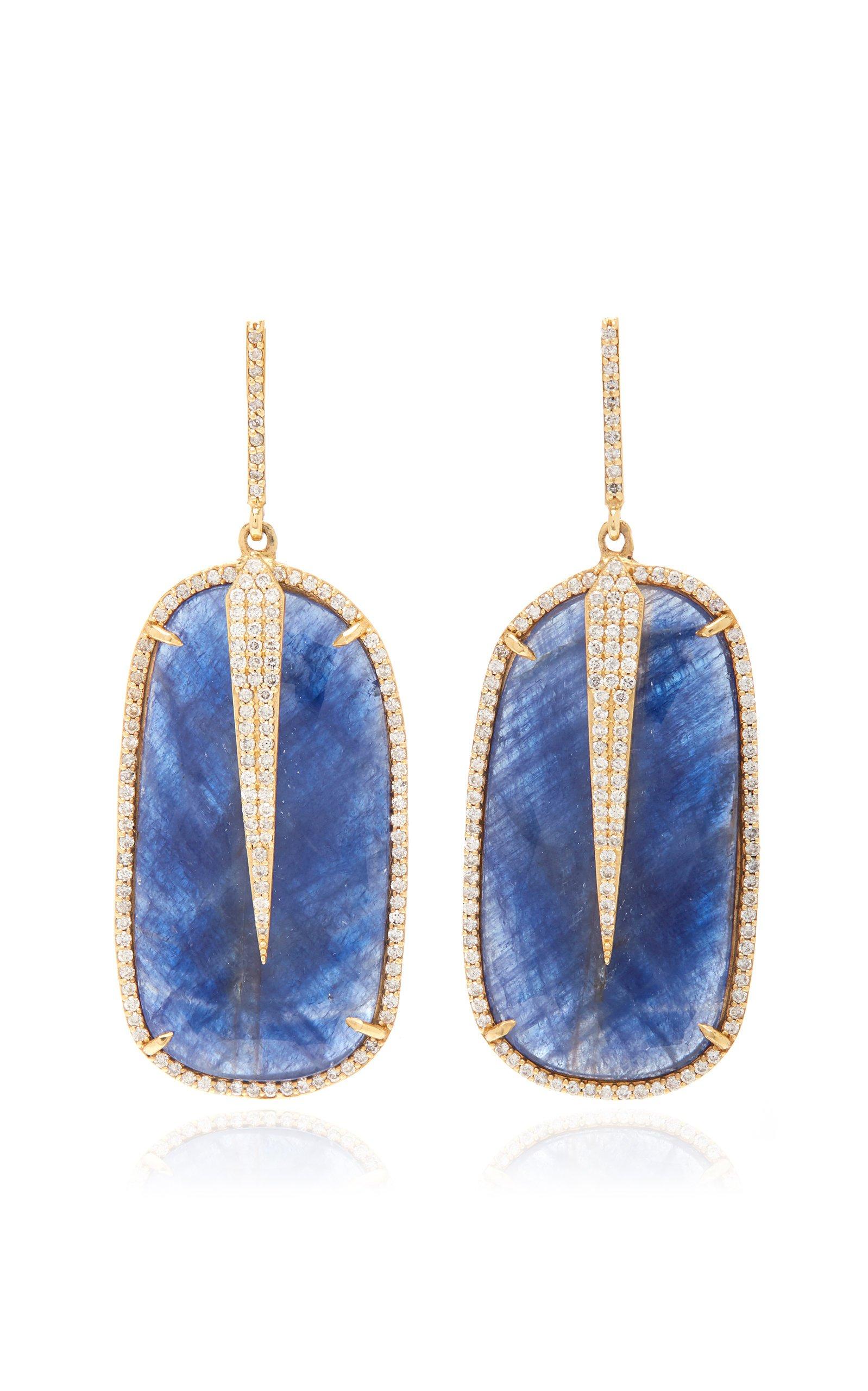 Sheryl Lowe 14K Yellow Gold Spike And Sapphire Earrings