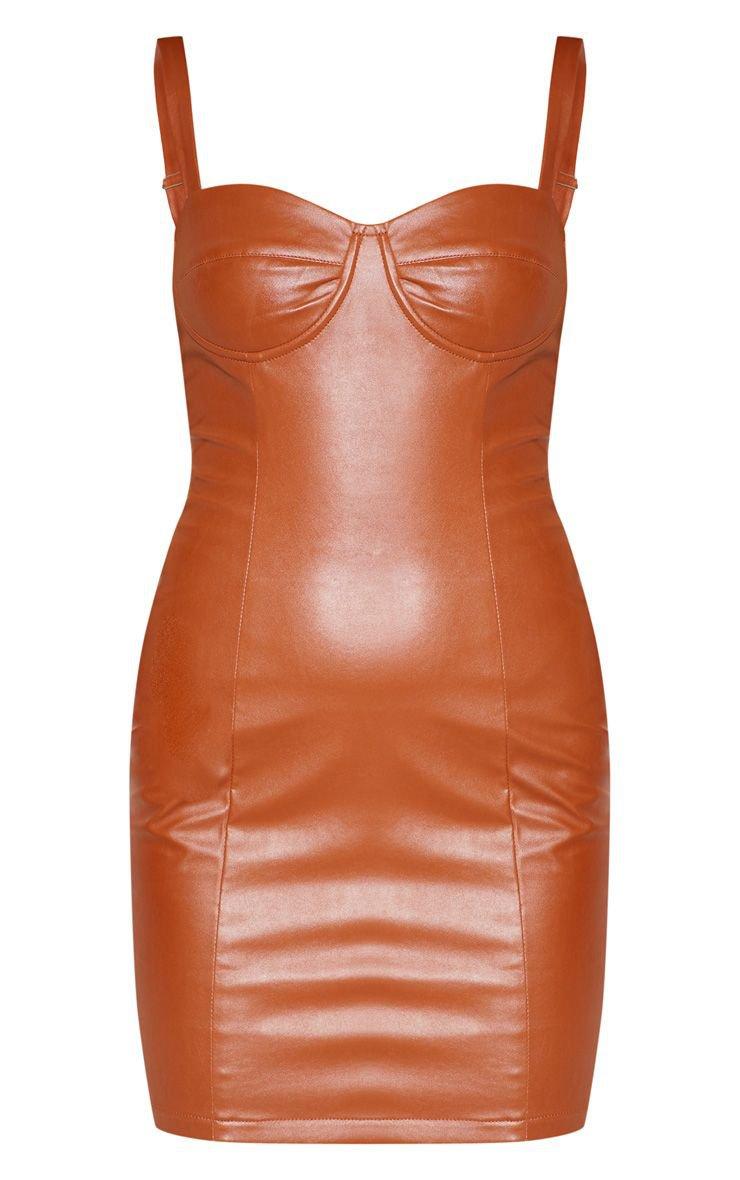 Tan Pu Cup Detail Bodycon Dress | PrettyLittleThing USA