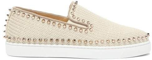 Boat Spike Embellished Woven Slip On Trainers - Womens - Ivory
