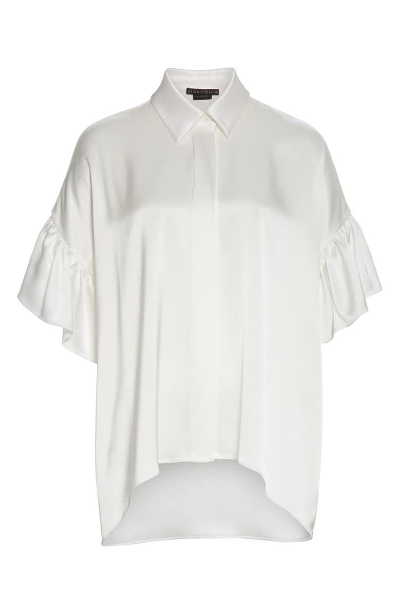 Alice + Olivia Edyth Ruffle Sleeve Button-Up Blouse | Nordstrom
