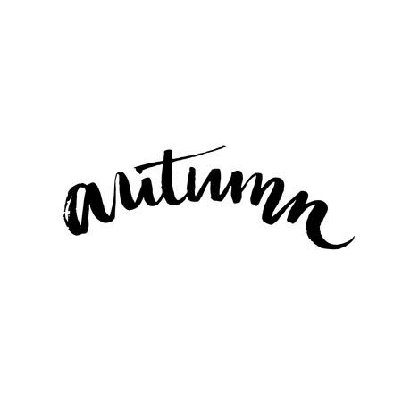 Handwritten Word Autumn. Black Ink Calligraphy Word Isolated.. Royalty Free Cliparts, Vectors, And Stock Illustration. Image 44650108.