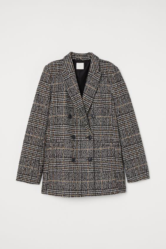 Double-breasted Jacket - Black/houndstooth-patterned - Ladies | H&M US
