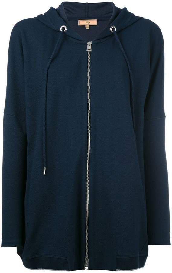 zipped drawstring hoodie