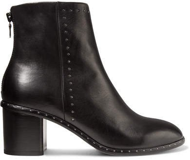Willow Studded Leather Ankle Boots - Black