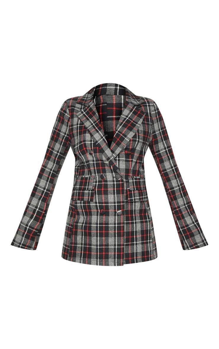 Black Check Breasted Oversized Blazer | PrettyLittleThing USA