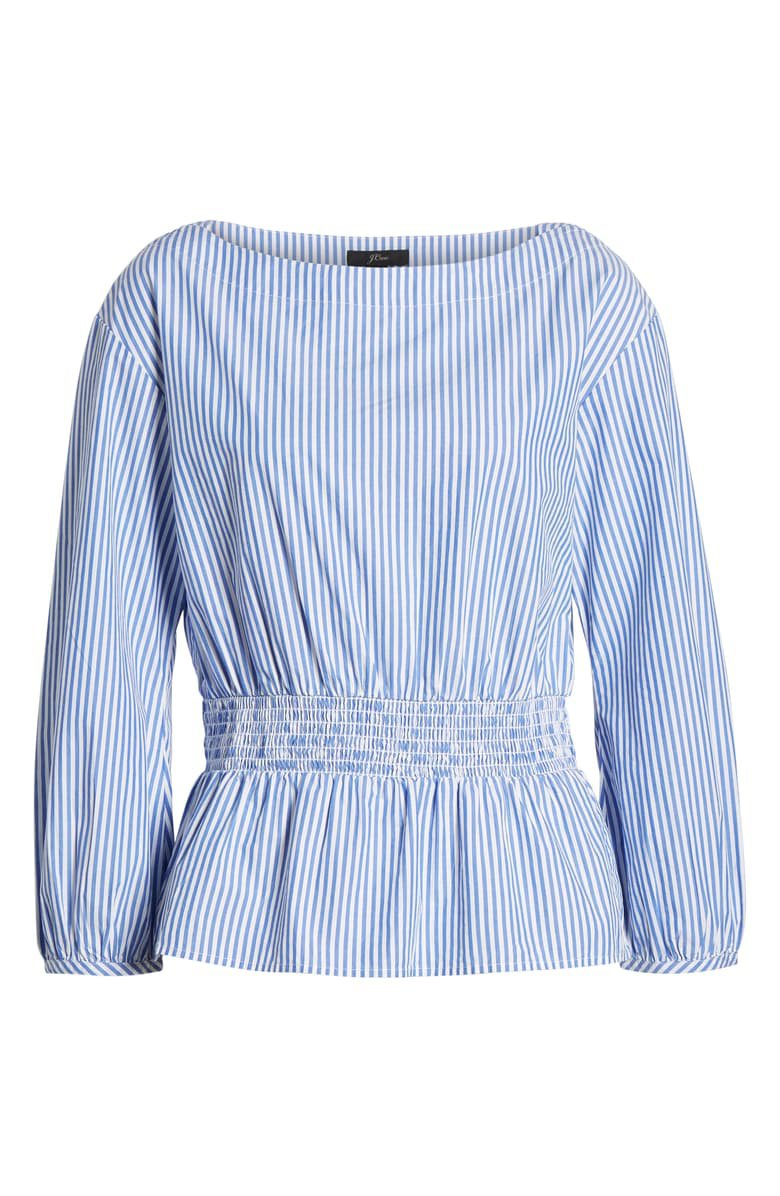 J.Crew Smocked Boat Neck Top in Stripes (Regular & Plus Size) | Nordstrom