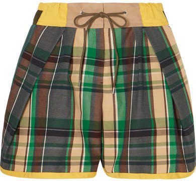 Cotton-blend Twill And Checked Poplin Shorts - Green