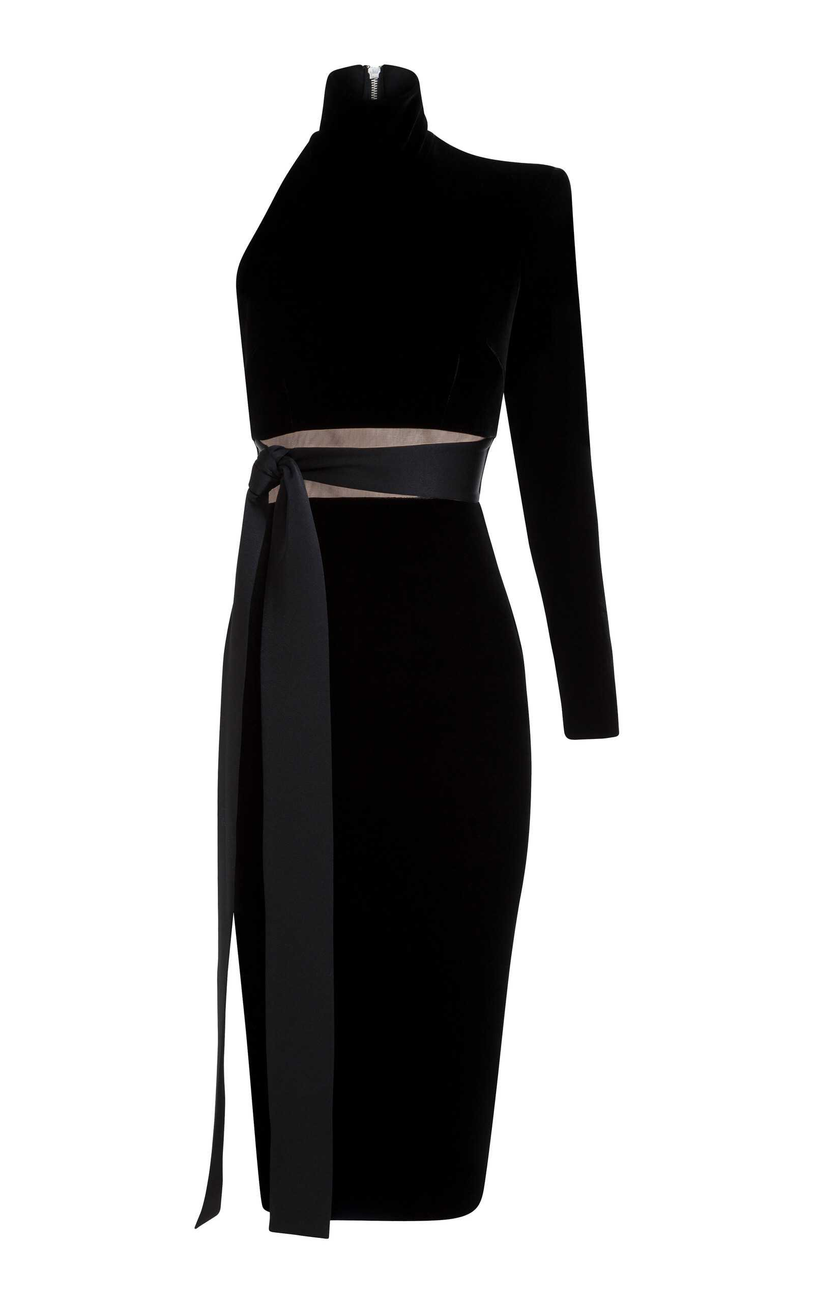 Alex Perry Astrid Velvet One Sleeve Cocktail Dress