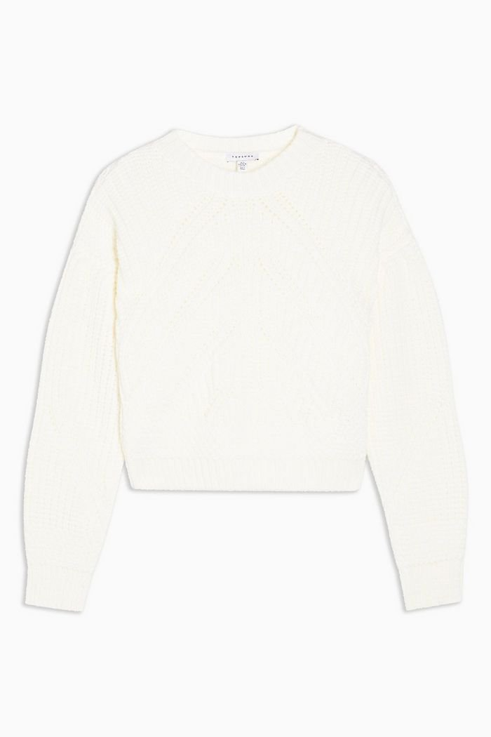 White Knitted Ribbed Balloon Sleeve Jumper | Topshop