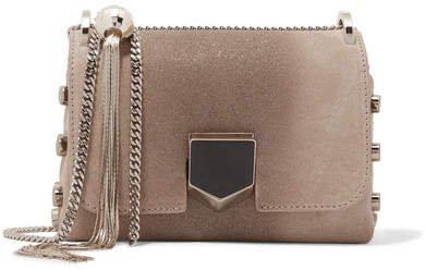 Lockett Mini Glittered Suede Shoulder Bag - Beige