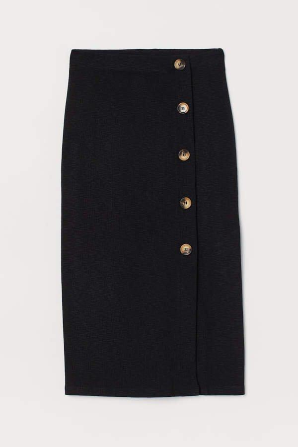 Slub Jersey Pencil Skirt - Black