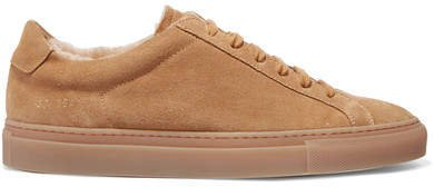 Retro Low Shearling-lined Suede Sneakers - Tan