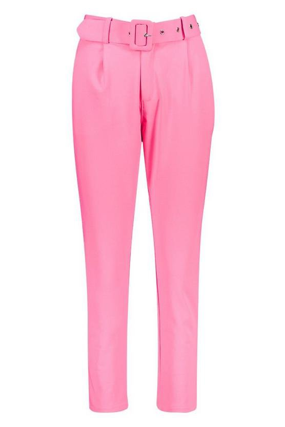 Self Belt Tailored Pants   Boohoo pink