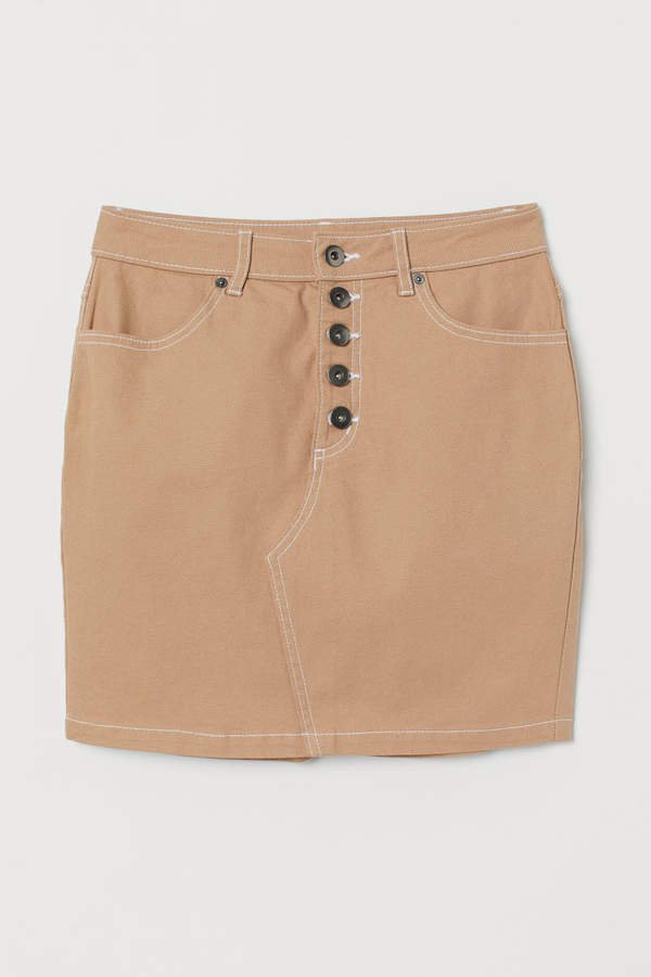 Short Twill Skirt - Beige
