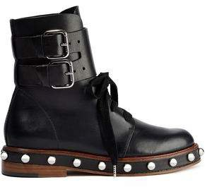 Red(V) Red(v) Buckle-detailed Studded Leather Ankle Boots