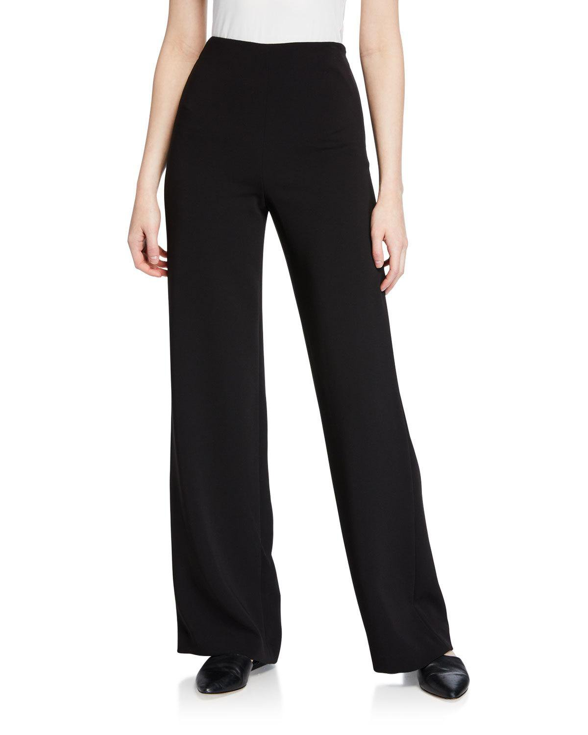 Theory Clean Wide-Leg Crepe Pants | Neiman Marcus