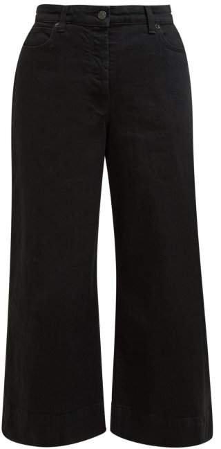 Edna Wide Leg Cropped Denim Trousers - Womens - Black