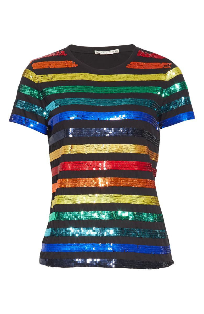 Alice + Olivia Rylyn Sequin Rainbow Stripe Tee | Nordstrom