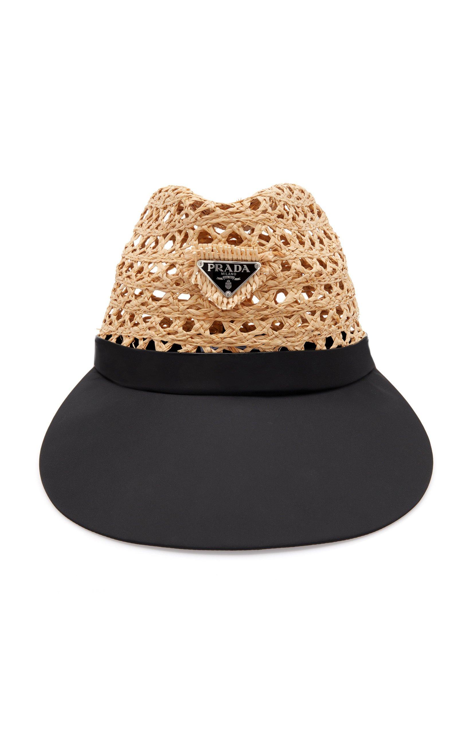 Prada Triangolo Raffia Hat Size: XL