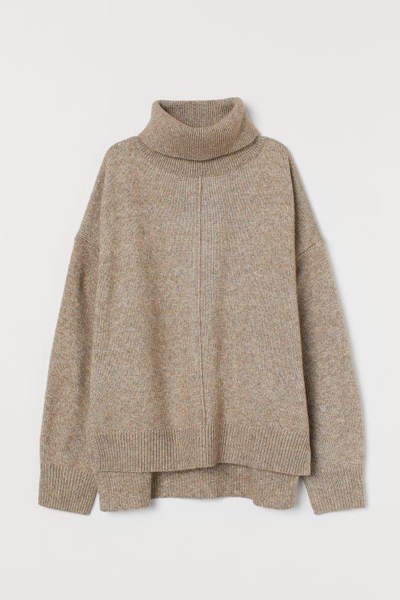 Knit Turtleneck Sweater - Beige melange - Ladies   H&M US
