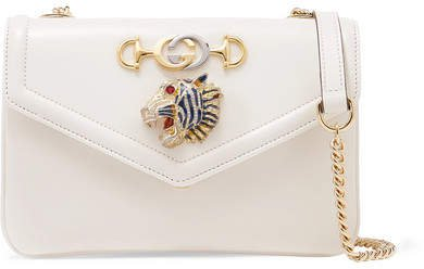 Rajah Embellished Leather Shoulder Bag - White