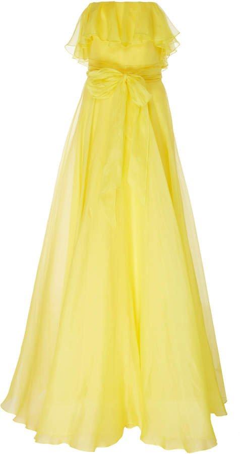 Isla Ruffled Organza Strapless Gown