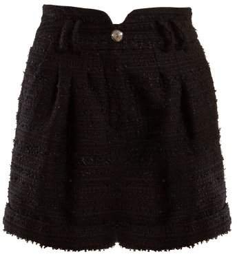 High Rise Tweed Shorts - Womens - Black