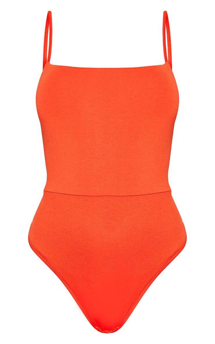 Basic Orange Square Neck Thong Bodysuit | PrettyLittleThing
