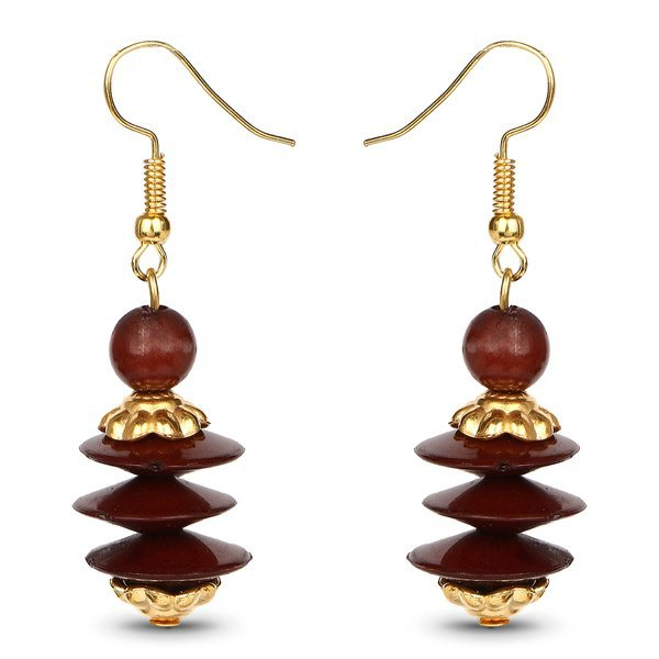 Shop Liliana Bella Gold Plated Handmade Brown Beaded Oval Necklace and Earrings Set - On Sale - Free Shipping On Orders Over $45 - Overstock.com - 14658448