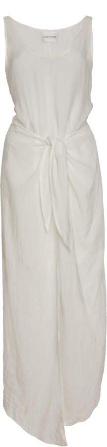High-Low Ramie Linen Wrap Dress