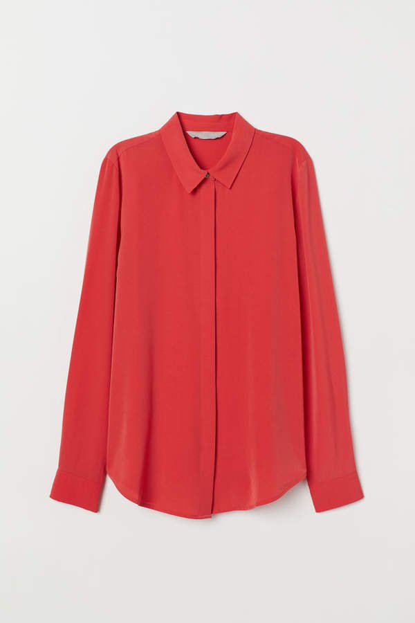 Long-sleeved Blouse - Red