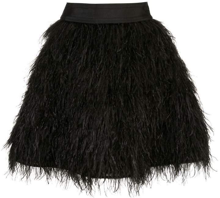Alice+Olivia Cina feathered mini skirt