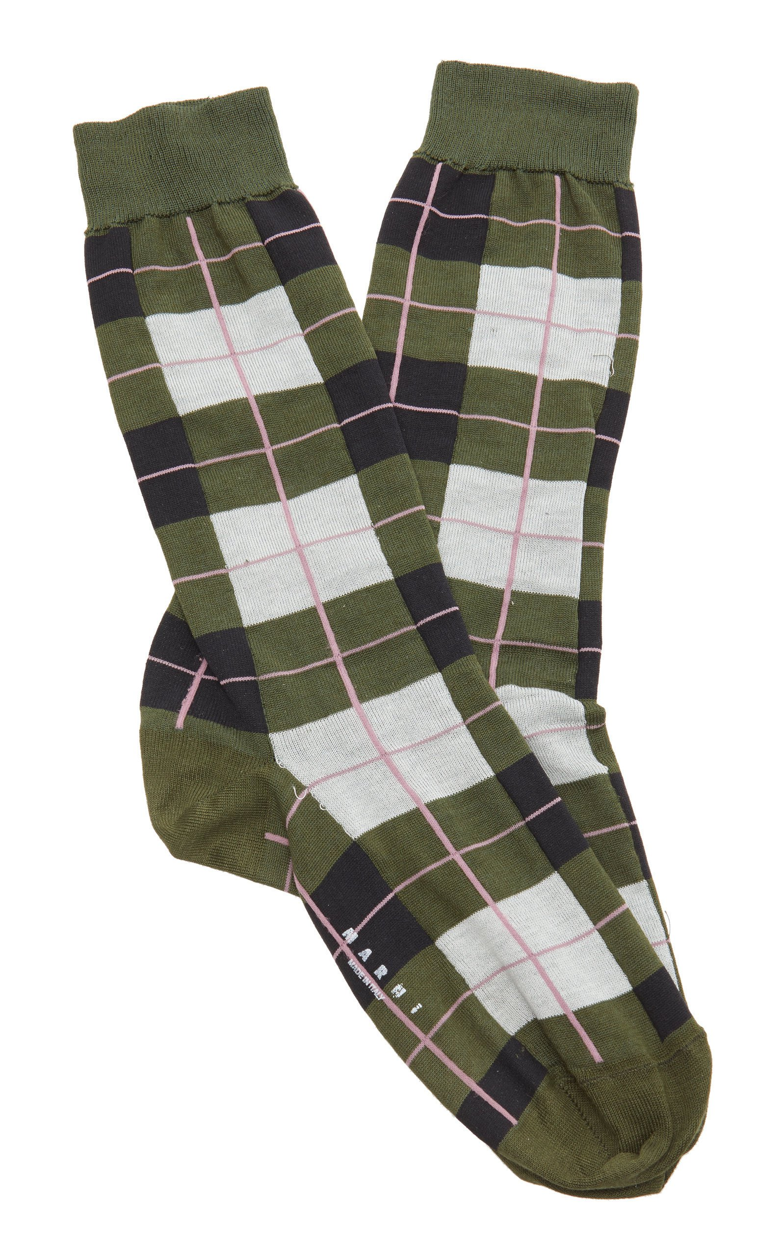 Marni Plaid Cotton-Blend Socks