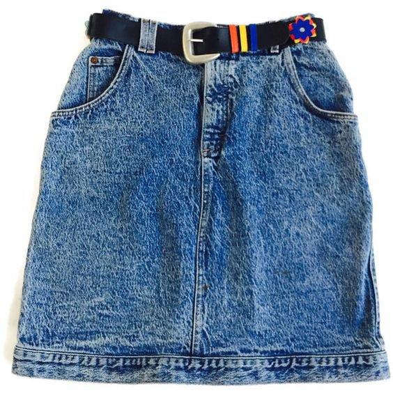 Vintage LEE High Waist Jean Skirt With Being Floral Belt