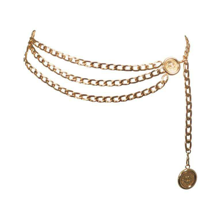 CHANEL Gold Tone Triple Strand Detail Chain Link Belt Necklace Open Size at 1stdibs