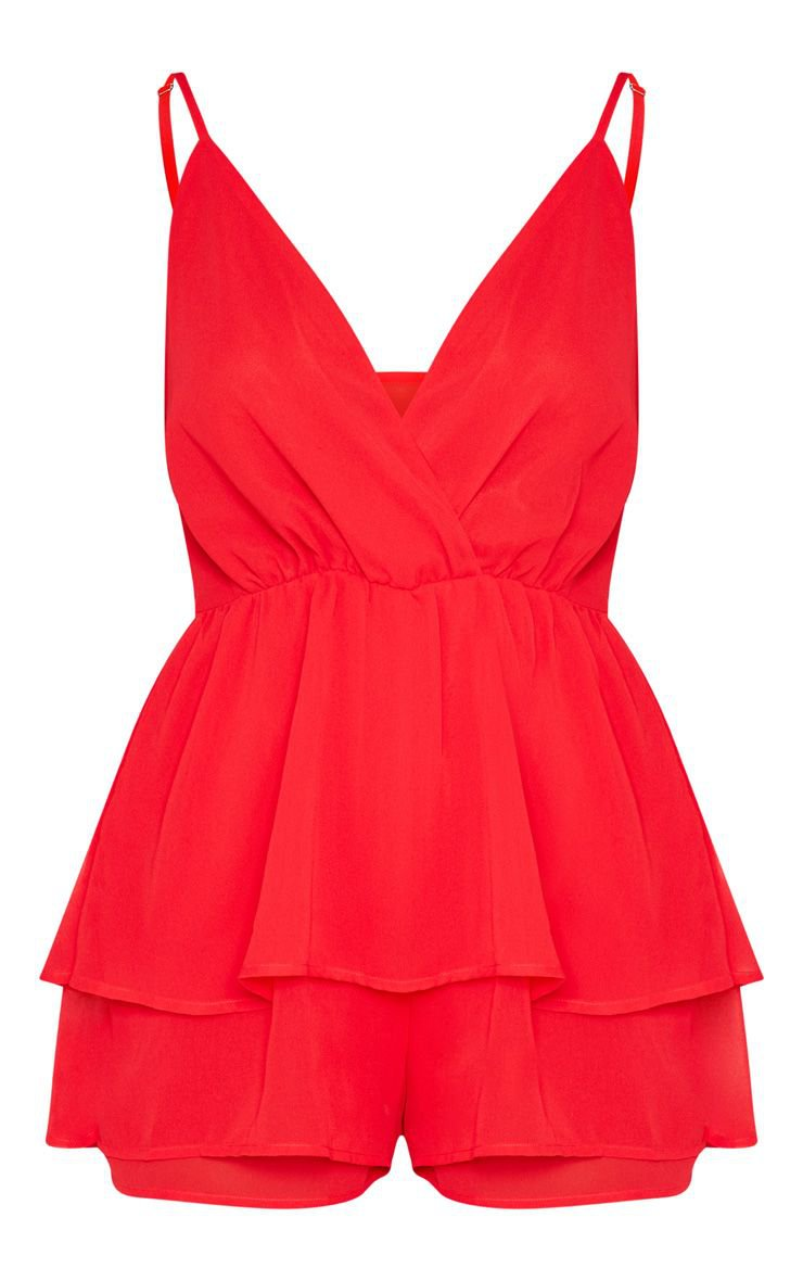 Red Frill Layer Romper | PrettyLittleThing USA