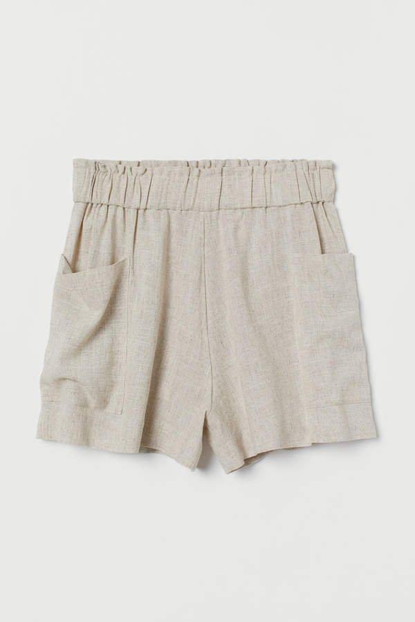 Linen-blend Shorts High Waist - Beige