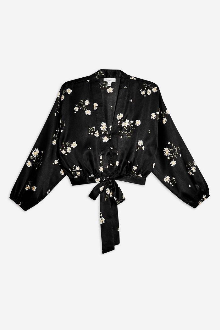 Daisy Satin Tie Front Blouse Black