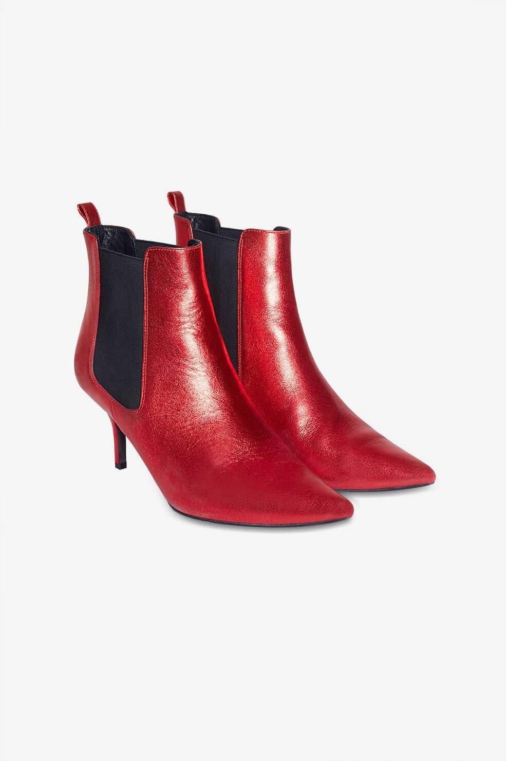 ANINE BING STEVIE BOOTS - RED METALLIC