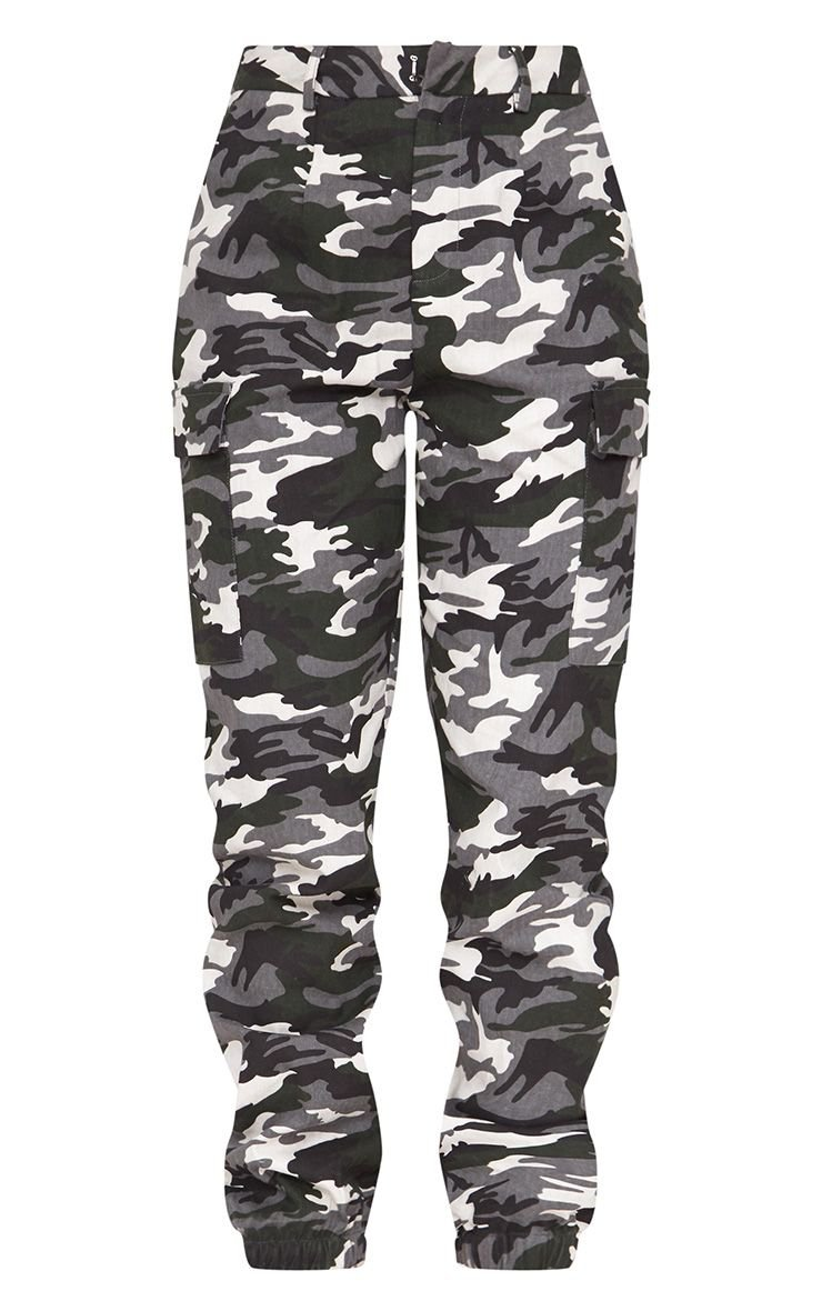 Grey Camo Print Cargo Trousers | PrettyLittleThing USA