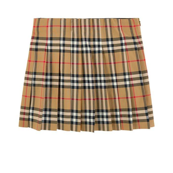 Check pleated skirt Burberry for girls   Melijoe.com