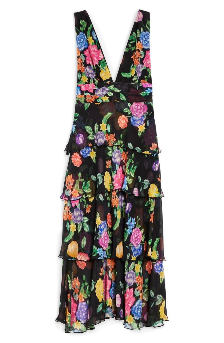 Topshop Freida Floral Pinafore Maxi Dress Black