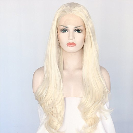 Light Blonde Glueless Synthetic Lace Front Wigs For Women Daily Makeup