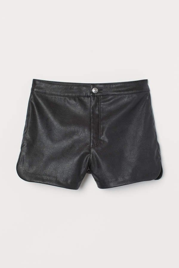 Faux Leather Shorts - Black
