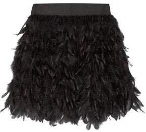 Cina Feather-embellished Tulle Mini Skirt